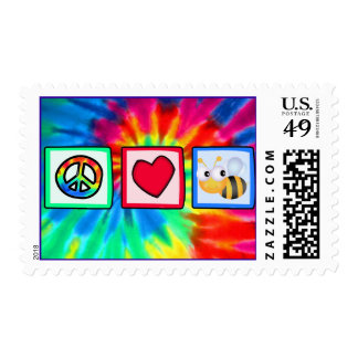Peace, Love, Bees Postage Stamp