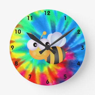 Peace, Love, Bees Round Clock