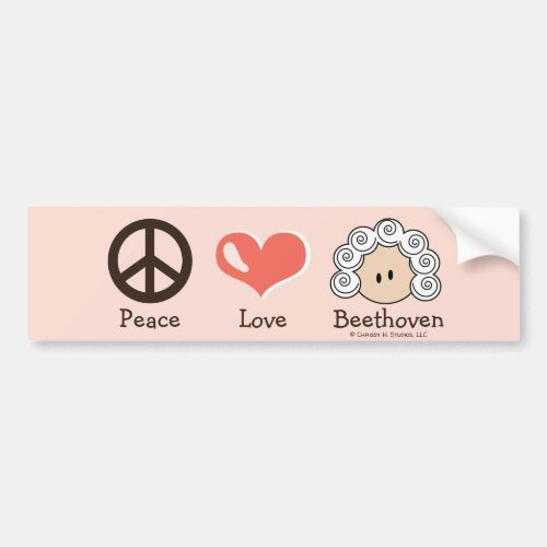 Peace Love Beethoven Bumper Sticker Pink Brown