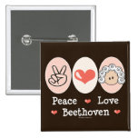 Peace Love Beethoven Button