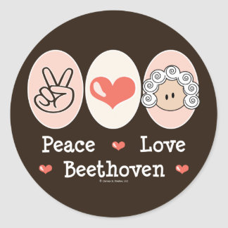 Peace Love Beethoven Stickers