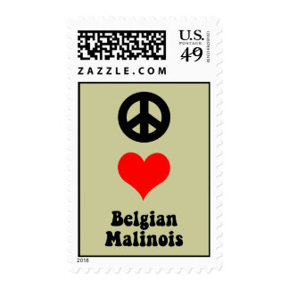 Peace love Belgian Malinois Stamp