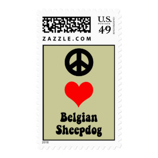 peace love Belgian Sheepdog Stamps
