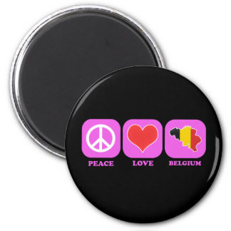 Peace Love Belgium 2 Inch Round Magnet