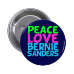 Peace Love Bernie Sanders (blue) 2 Inch Round Button