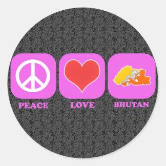Peace Love Bhutan Round Stickers