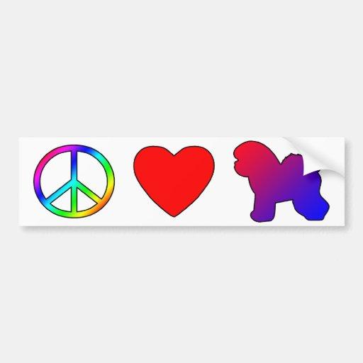 Peace Love Bichon Frises Bumper Sticker