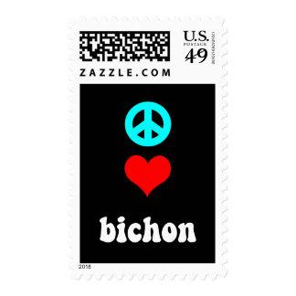 Peace love Bichon Stamps