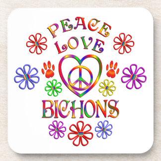 Peace Love Bichons Drink Coaster