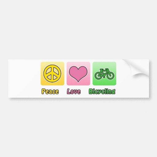 Peace Love Bicycling Bumper Sticker