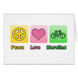 Peace Love Bicycling Card