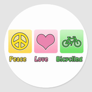 Peace Love Bicycling Classic Round Sticker