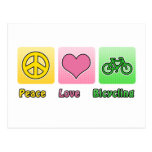 Peace Love Bicycling Post Card