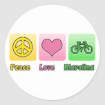 Peace Love Bicycling Round Sticker