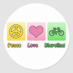 Peace Love Bicycling Sticker