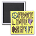 Peace Love Bigfoot 2 Inch Square Magnet