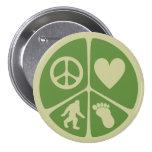 Peace Love Bigfoot 3 Inch Round Button