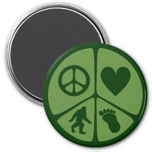 Peace Love Bigfoot 3 Inch Round Magnet
