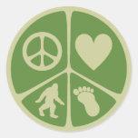 Peace Love Bigfoot Classic Round Sticker