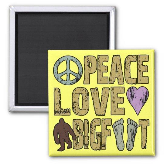 Peace Love Bigfoot Magnet