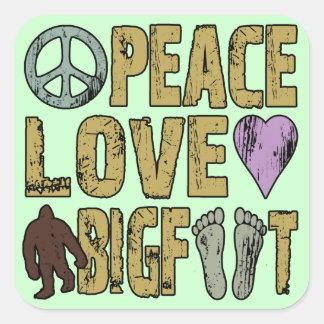 Peace Love Bigfoot Square Sticker