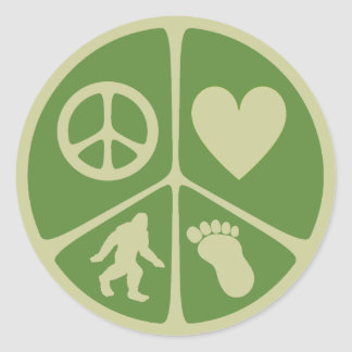 Peace Love Bigfoot Stickers