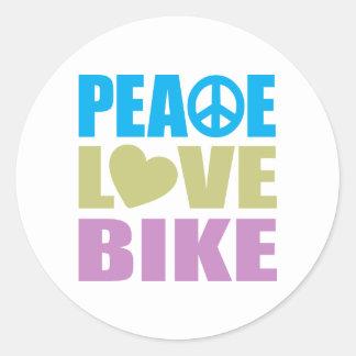 Peace Love Bike Round Stickers