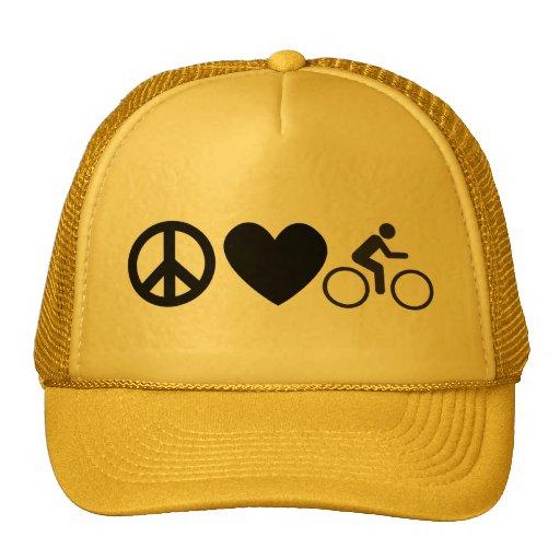 peace love bike trucker hat