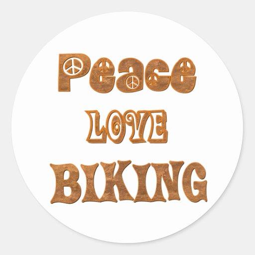 Peace Love Biking Stickers