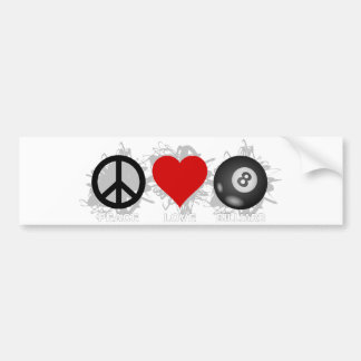 Peace Love Billiard Emblem Bumper Sticker