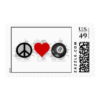Peace Love Billiard Emblem Postage
