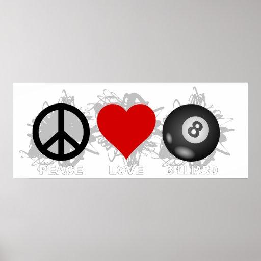 Peace Love Billiard Emblem Poster
