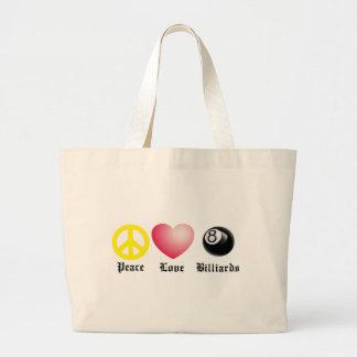 Peace, Love, Billiards (8 ball) Tote Bags