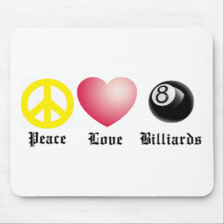 Peace, Love, Billiards (8 ball) Mouse Pad