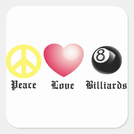 Peace, Love, Billiards (8 ball) Square Stickers