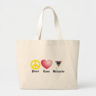 Peace, Love, Billiards Tote Bags