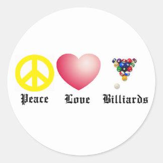 Peace, Love, Billiards Classic Round Sticker