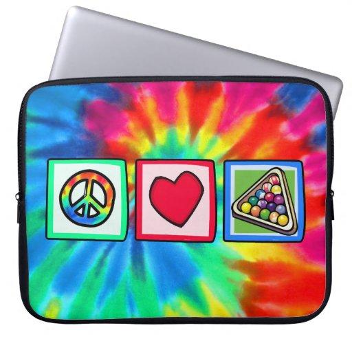 Peace, Love, Billiards Laptop Computer Sleeves