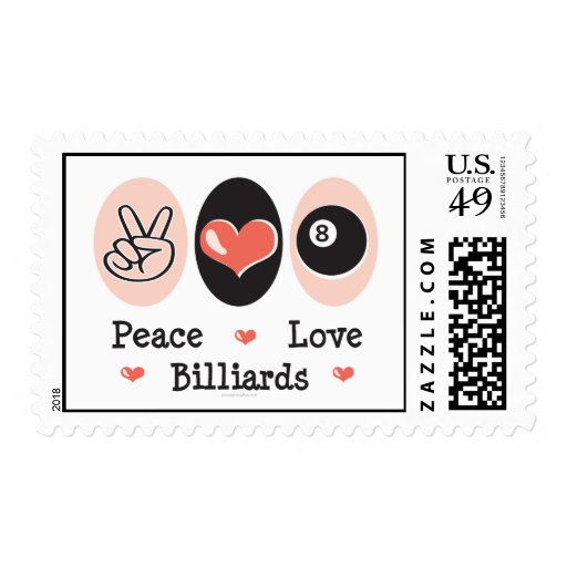 Peace Love Billiards Postage Stamps