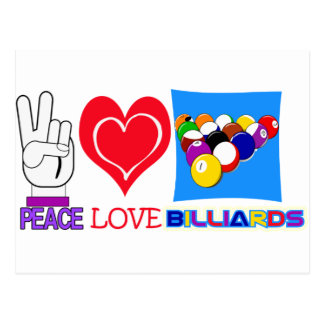 PEACE LOVE BILLIARDS POSTCARD