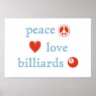 Peace Love Billiards Poster