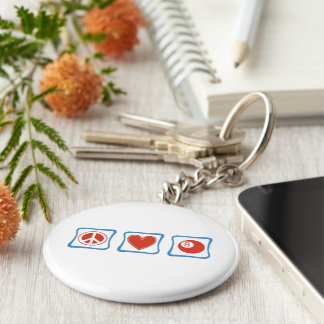 Peace Love Billiards Squares Keychain