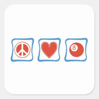 Peace Love Billiards Squares Square Sticker