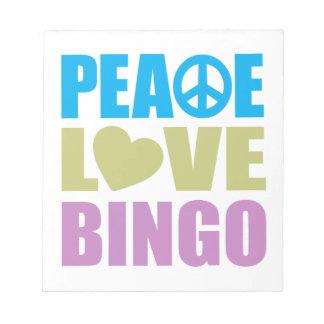 Peace Love Bingo Memo Notepad