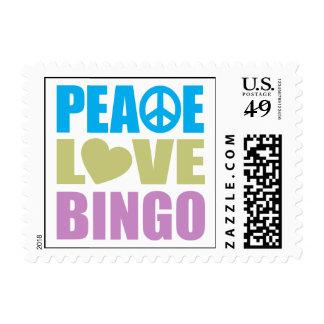 Peace Love Bingo Postage Stamps