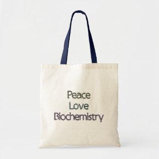 Peace, Love, Biochemistry Tote Bags