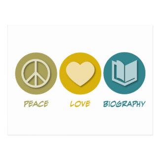 Peace Love Biography Postcard