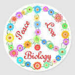 Peace Love Biology Stickers