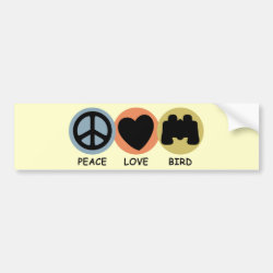 Bumper Sticker with Peace Love Bird design
