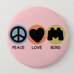 Round Button with Peace Love Bird design